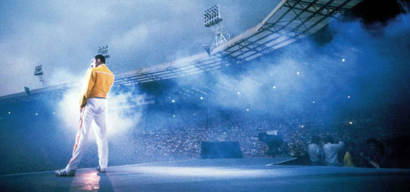 Freddie Mercury on stage at Wembley Stadium, 1986