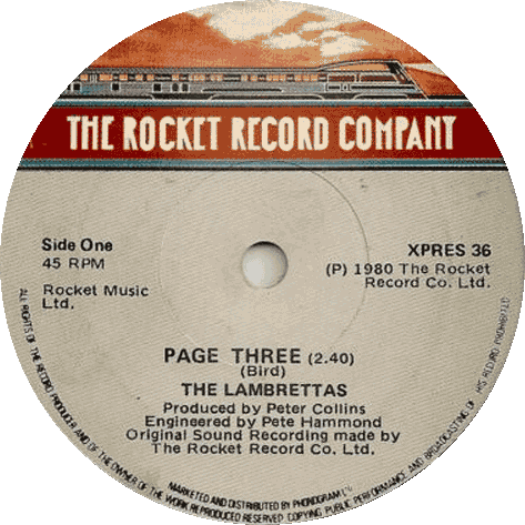 "Lambrettas ""Page Three"" label"